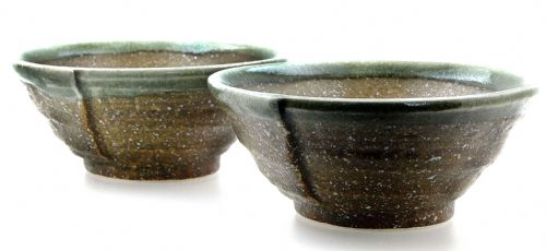 Ammonite Brown & Green ceramic bowls Japanese for two